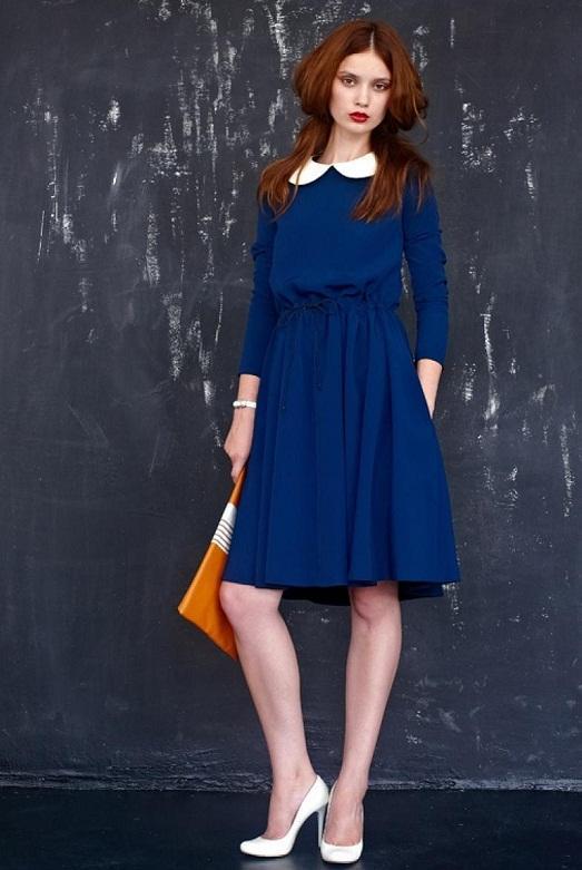 Синее платье фото по колено